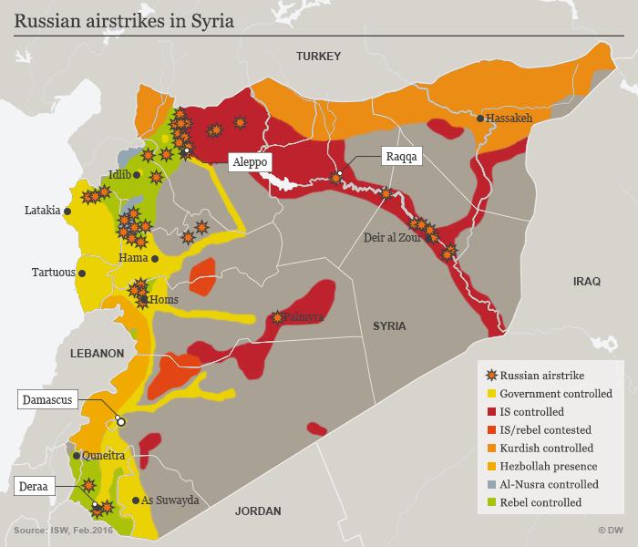 Karte russische Luftangriffe in Syrien