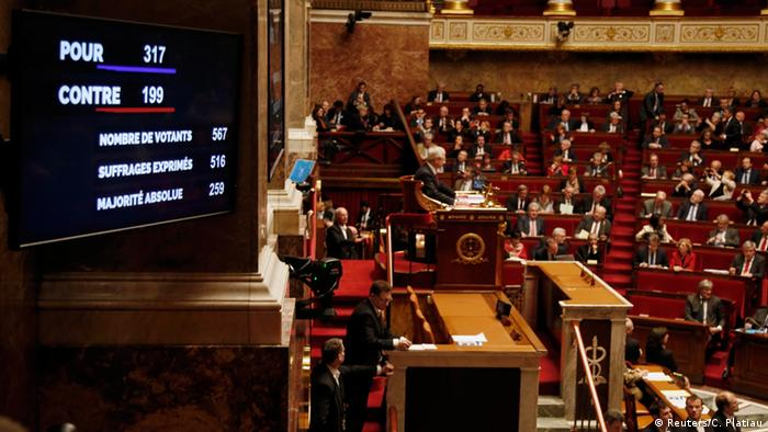 Voting results appear on electronic score board in French National Assembly.