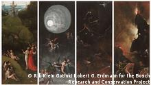 EINSCHRÄNKUNG: NUR ZUR VERWENDUNG FÜR KULTUR, Sabine Oelze Jheronimus Bosch Visions of the Hereafter, ca. 1505-15 Venezia, Museo di Palazzo Grimani 1 2 From left to right The Road to Heaven, Earthly Paradise The Road to Heaven, Ascent to Heaven The Road to Hell, Fall of the Damned The Road to Hell, Hell Photo Rik Klein Gotink and image processing Robert G. Erdmann for the Bosch Research and Conservation Project.