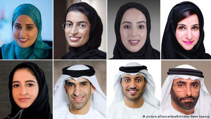 Vereinigte Arabische Emirate Bildkombo Neue Minister (picture-alliance/dpa/Emirates News Agency)