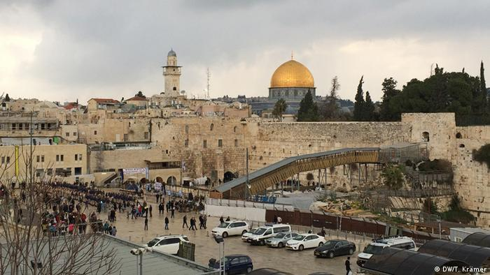 The Western Wall with the Dome of the Rock in the background