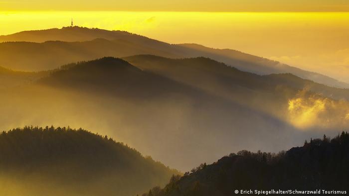 Deutschland Schwarzwald Morgendunst Bergpanorama