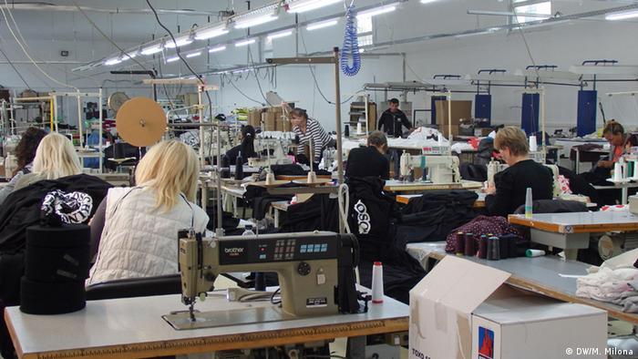 El taller de fabricación de textiles de Maria Papadopoulou en Petrich, Bulgaria.