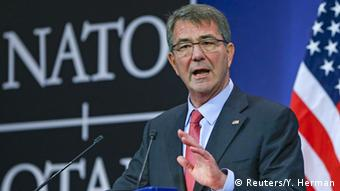 US Defense Secretary Ash Carter speaks at a press conference following a NATO ministers' meeting in Brussels.