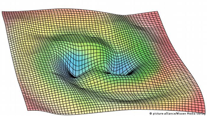 Illustration gekrümmter Raum Gravitationswellen