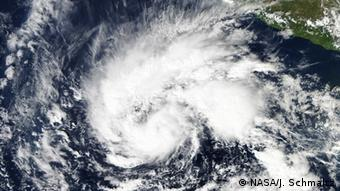 Satellite view of a tropical storm