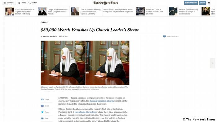 Screenshot New York Times Kyrill Patriarch Uhr (Foto: The New York Times)