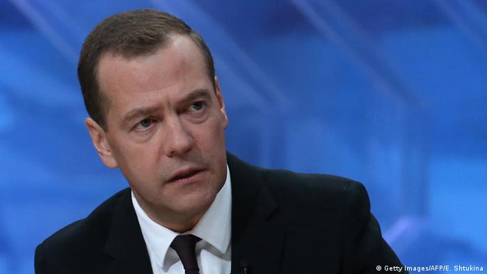 Russian Prime Minister Dmitry Medvedev on state television (Photo: YEKATERINA SHTUKINA/AFP/Getty Images)