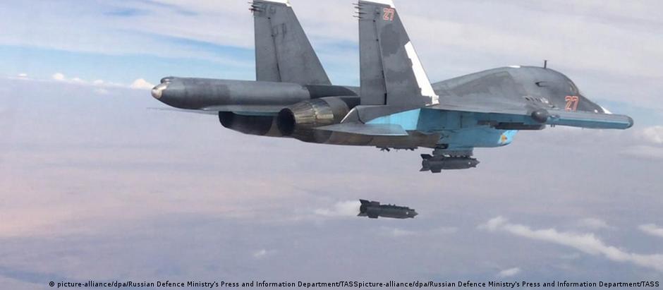Aeronave russa durante uma operação na Síria