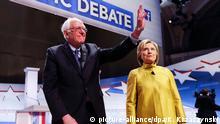 USA Präsidentschaftswahlkampf Demokraten TV Debatte Bernie Sanders und Hillary Clinton