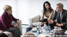Deutschland Treffen Angela Merkel und George Clooney