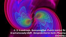 *** NUR AKTUELLE BERICHTERSTATTUNG NACHWEIS GRAVITATIONSWELLEN **** HANDOUT - Numerische Simulationen visualisieren, wie zwei Schwarze Löcher verschmelzen - unter Abstrahlung von Gravitationswellen (undatiertes Bild). ACHTUNG *** Nur zur einmaligen redaktionellen Verwendung im Zusammenhang mit der Berichterstattung und bei vollständiger Nennung der Quelle: S. Ossokine/A. Buonanno/Max-Planck-Institut für Gravitationsphysik/W. Benger/Airborne Hydro Mapping GmbH/dpa (Zu dpa Gerüchte über Beweis für Gravitationswellen häufen sich) +++(c) dpa - Bildfunk+++