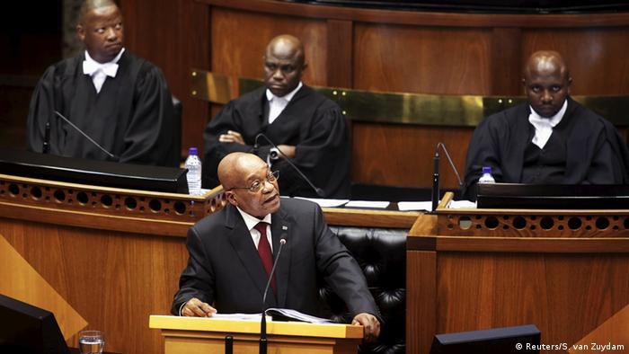 South African President Jacob Zuma delivers his State of the Nation address in parliament in Cape Town, February 2016.