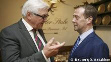 13.02.2016 *** © Reuters/D. Astakhov German Foreign Minister Frank-Walter Steinmeier speaks to Russian Prime Minister Dmitry Medvedev during a meeting on the sideline the Munich Security Conference in Munich, Germany, February 13, 2016. REUTERS/Dmitry Astakhov/Sputnik/Pool ATTENTION EDITORS - THIS IMAGE HAS BEEN SUPPLIED BY A THIRD PARTY. IT IS DISTRIBUTED, EXACTLY AS RECEIVED BY REUTERS, AS A SERVICE TO CLIENTS. © Reuters/D. Astakhov