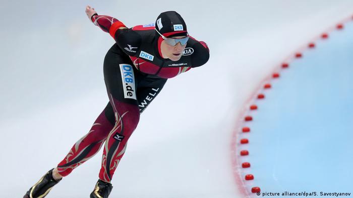 Немецкая конькобежка Клаудия Пехштайн (Claudia Pechstein) на Чемпионате мира-2016 в Коломне