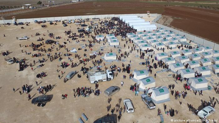 Refugee camps for Syrians near the Turkish border at Syria