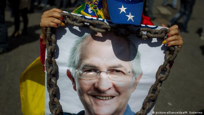 Venezuela Porträt von Antonio Ledezma Protest