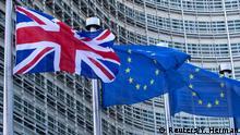 Belgien EU Kommission Flaggen Großbritannien und Europa