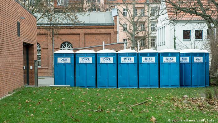 portable toilets at emergency refuge shelter in Blerin