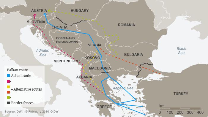 Infografik Balkanroute und die Alternative Routen Englisch