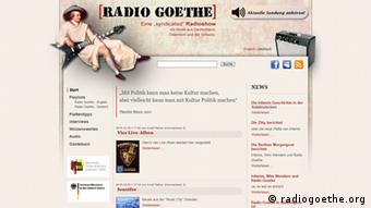 Screenshot der Website radiogoethe.org
