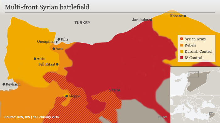 Map showing different parties in Syria conflict
