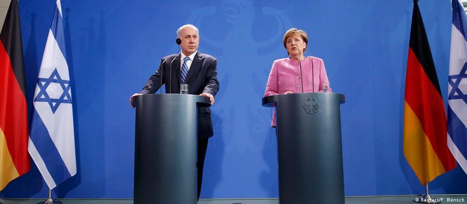 O atual premiê israelense, Benjamin Netanyahu, ao lado da chanceler federal alemã, Angela Merkel