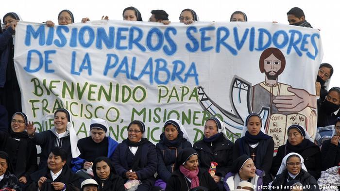 Mexiko Besuch des Papstes Willkommengruß