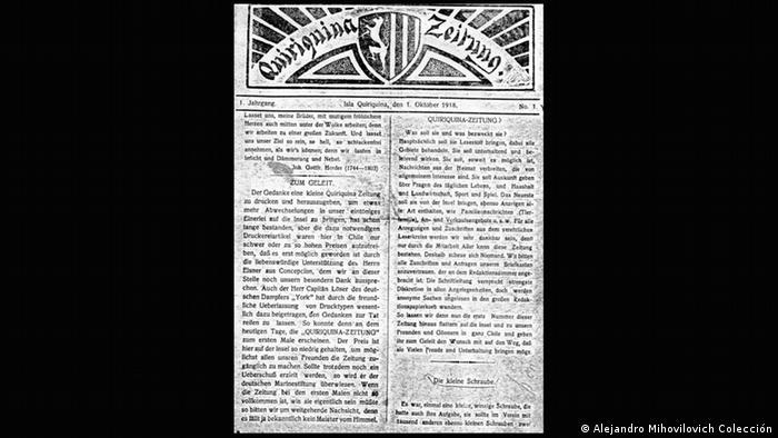 SMS Dresden Quiriquina Zeitung