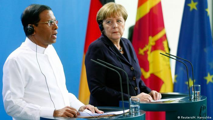 Sri Lankan President Maithripala Sirisena at a press conference with German Chancellor Angela Merkel