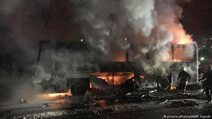 Burning military vehicle in Ankara
