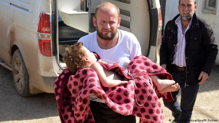 Жертва авианалета в Алеппо