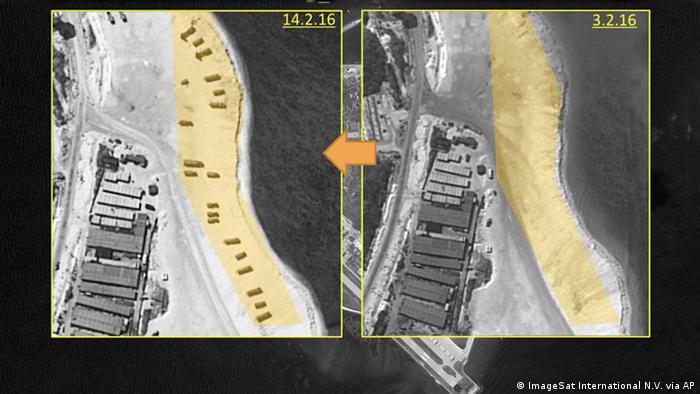 This image with notations provided by ImageSat International N.V., Wednesday, Feb. 17, 2016, shows satellite images of Woody Island, the largest of the Paracel Islands, in the South China Sea (Photo: ImageSat International N.V. via AP)