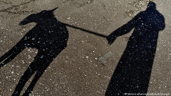 Shadow of a dog and its owner.