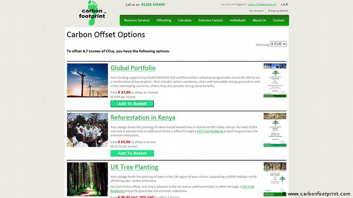 Screenshot Carbon Offsetting Company Carbonfootprint.com