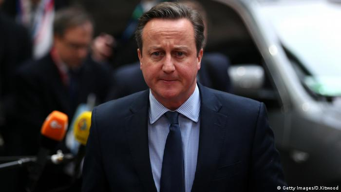 British Prime Minister David Cameron arrives at the Council of the European Union
