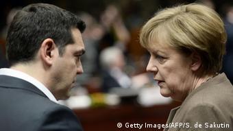 Brüssel EU Gipfel - Alexis Tsipras & Angela Merkel (Getty Images/AFP/S. de Sakutin)