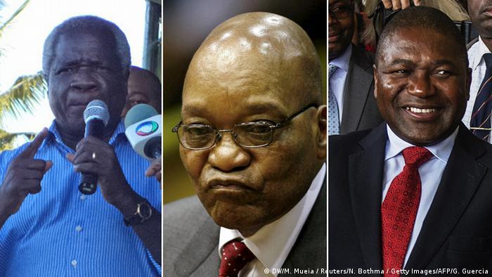 Afonso Dhlakama (esquerda), Jacob Zuma (meio), Filipe Nyusi (direita)