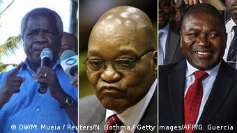 Kombibild Renamo, Zuma und Nyusi