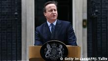 20.02.2016 *** British Prime Minister David Cameron makes a statement to the media outside 10 Downing Street in London on February 20 , 2016 regarding EU negotiations and to announce the date of the in-out referendum after chairing a meeting of the cabinet. Prime Minister David Cameron takes a deal giving Britain special status in the EU back to London on February 20 hoping it will be enough to keep his country in the bloc as campaigning begins for a crucial in-out referendum. The prime minister announced that the referendum would be held on June 23. / AFP / JUSTIN TALLIS (Photo credit should read JUSTIN TALLIS/AFP/Getty Images) © Getty Images/AFP/J. Tallis