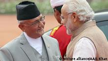 20.2.2016 *** NEW DELHI - INDIA - FEBRUARY 20: Indian Prime Minister Narendra Modi (R) welcomes Nepalese Prime Minister, Khadga Prasad Sharma Oli ,during a ceremonial reception in New Delhi on February 2016. Prime minister K. P Oli is on his first bilateral visit to India after assuming charge as Prime Minister. He is scheduled to meet with top Indian politicians during his 6 days long visit. Imtiyaz khan / Anadolu Agency picture alliance/AA/I. Khan