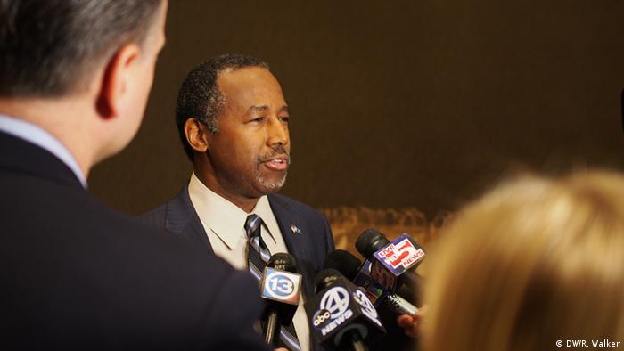 Republican Ben Carson speaks to the press in South Carolina ahead of state primary