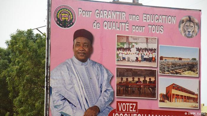 An election poster of President Mahamadou Issoufou.
