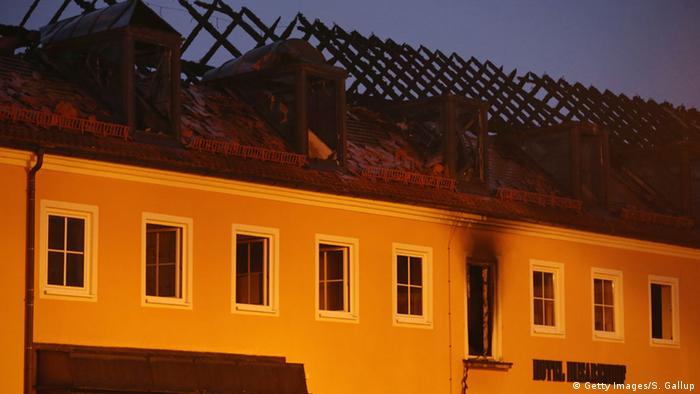 Burt roof of asylum seeker shelter