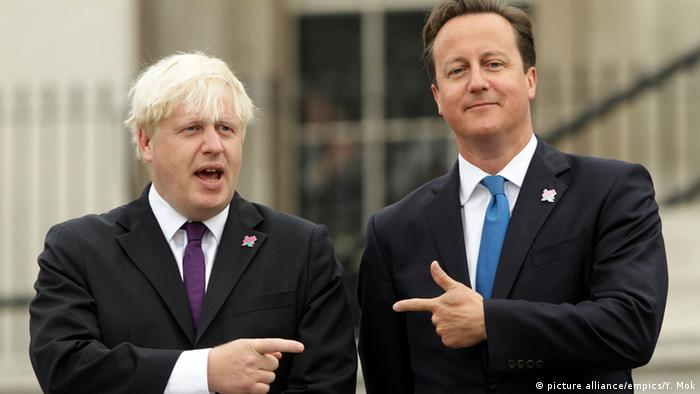 Boris Johnson and David Cameron pointing at each other
