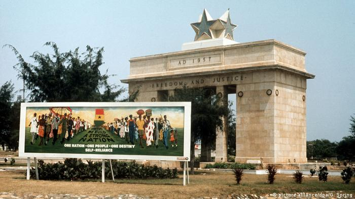 The independence memorial in Accra, a big gate with a star on top