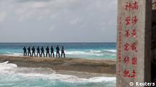 China Soldaten auf Spratly-Insel