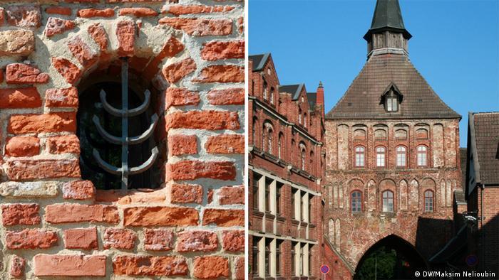 Слева - фрагмент стены монастыря Святого Иоанна, справа - средневековые городские ворота Кютертор
