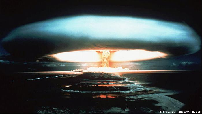 A 1971 file photo of a nuclear bomb detonated at the Mururoa atoll, French Polynesia