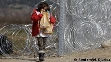 Mazedonien Grenze Griechenland Flüchtlingskind